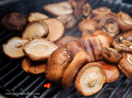 smoking mushrooms on a grill