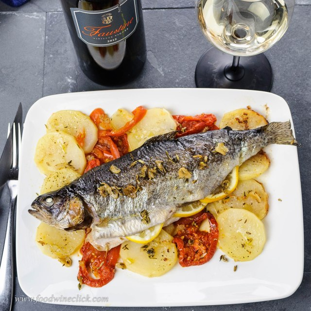 whole roasted trout with Faustine Corsica white wine