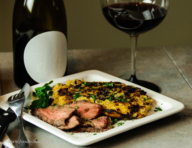 Alit Pinot Noir paired with flank steak and risotto fritto
