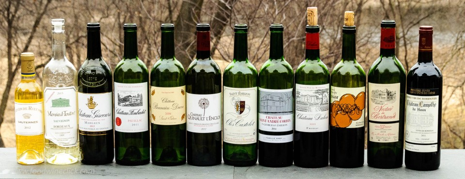 A variety of bordeaux wines