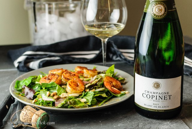 Champagne Copinet Marie paired with Curried Shrimp Salad