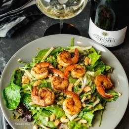 Curried shrimp salad with Champagne Copinet Marie
