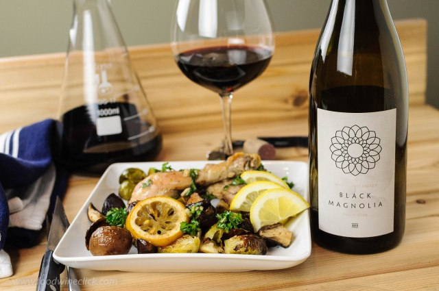 Black Magnolia Pinot Noir paired with oven roasted chicken