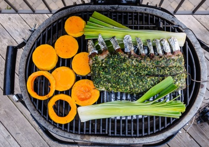 Primo grill set for two zone cooking vegetables and rack of lamb