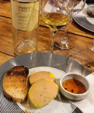 House made duck foie gras and Sauternes at Auberge de Vignes