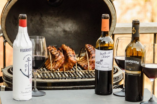 Barbecued ribs and three Portuguese dry red wines