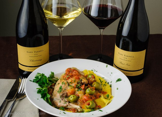 Gary Farrell wines with rabbit & green olives
