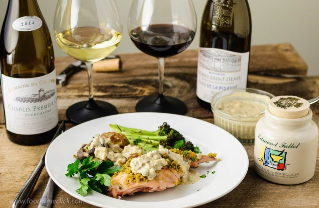 Rabbit with cream sauce served with two Burgundy wines.