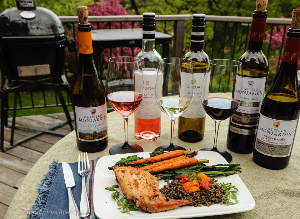 Grill roasted rabbit with wines of Navarra Spain