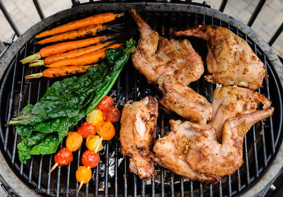 Grill the vegetables right alongside the rabbit