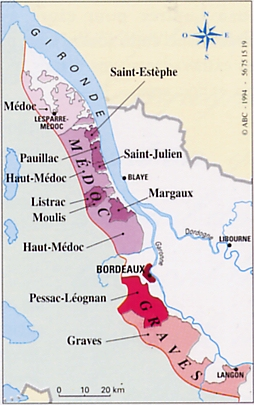 St. Estephe is the farthest north named village on the Left Bank. Over an hour from the city of Bordeaux. map courtesy of http://winederlusting.com