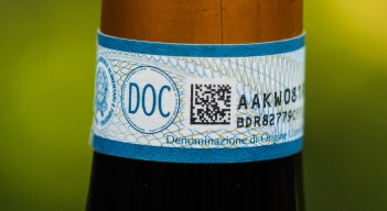DOC sticker on a bottle of Italian wine