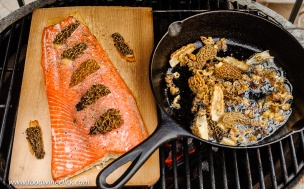 Cedar planked salmon and sauteed morel mushrooms