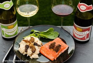 Morel mushroom risotto with cedar planked salmon, served with red and with Burgundy wines from Louis Max