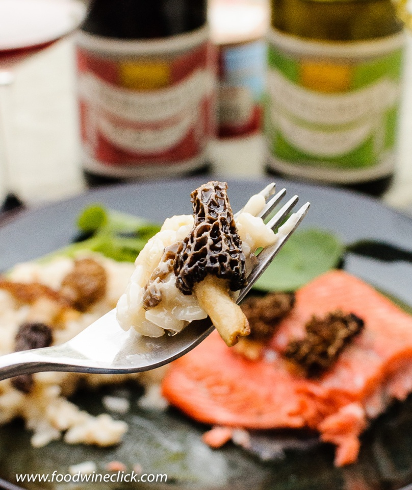 A bite of morel mushroom risotto