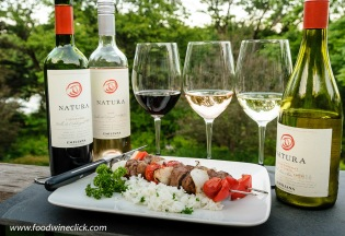 Natura Wines with grilled beef skewers