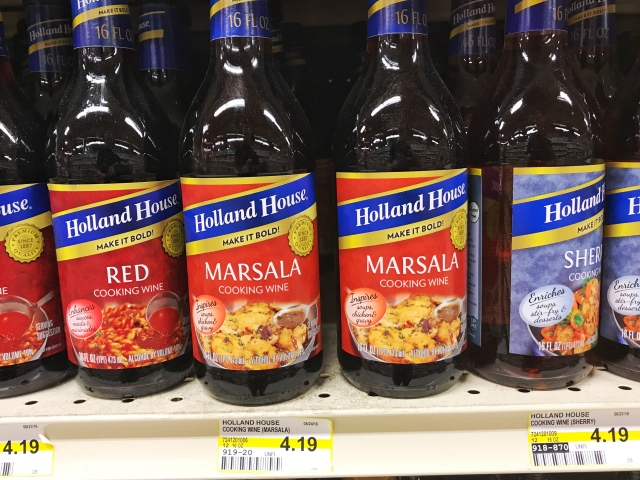Marsala cooking wine on the grocery shelf