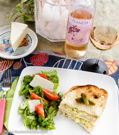 Planeta rosé with egg salad sandwich