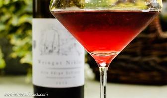 Schiava red wine in the glass