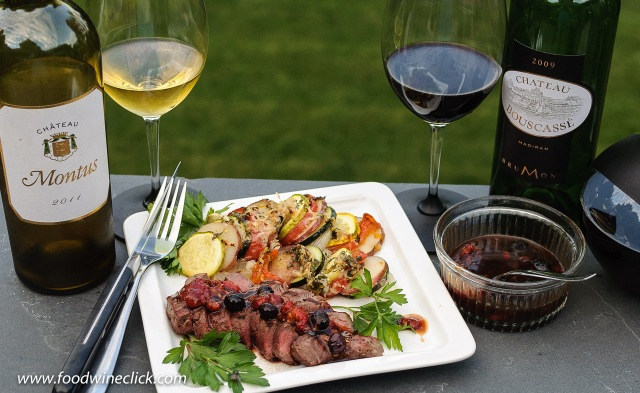 Vignobles Brumont wines with steak with Madeira fruit sauce and a vegetable gratin