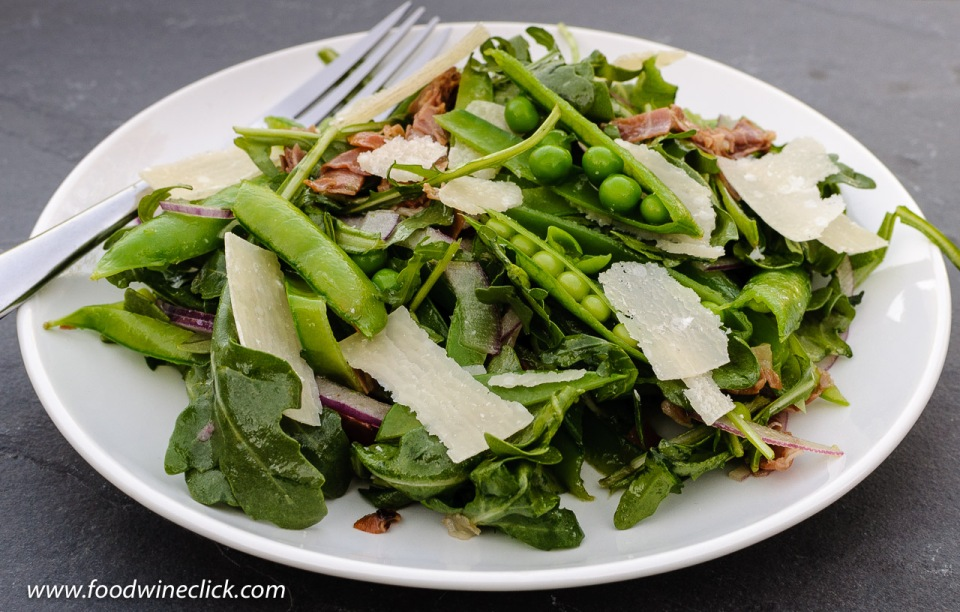 Salad with fresh spring peas, crispy Prosciutto and shaved Parmigiano Reggiano