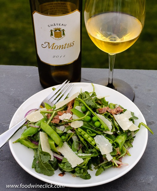 Chateau Montus Blanc with entrée salad