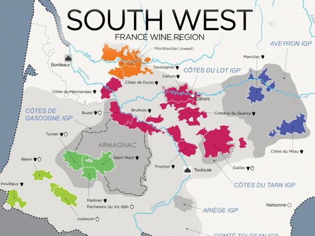 Southwest France wine map