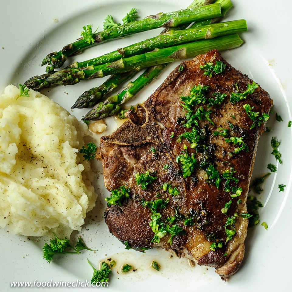 Pan seared pork chop with gremolata