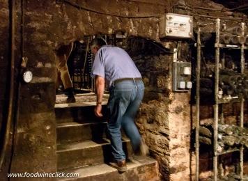 Low ceilings in a Burgundy cellar