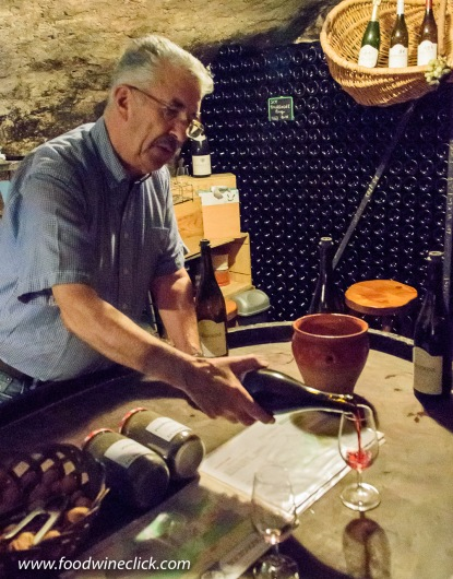Wine tasting in the cellar at Domaine Albert Boillot