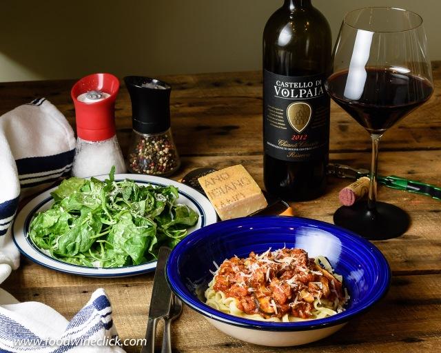Volpaia Chianti Classico Riserva with spaghetti