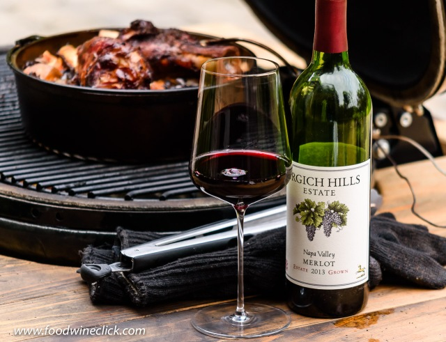 Grgich Hills Estate Merlot at the Primo ceramic grill