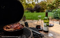 Lamb shanks on the grill with Grgich Hills Estate Merlot