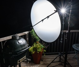 Night food photo flash lighting