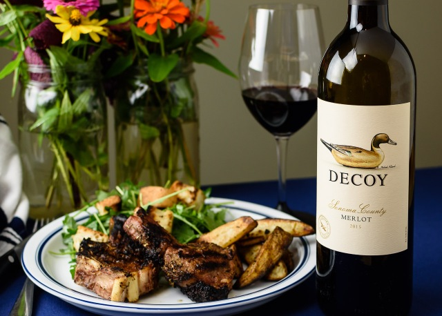 Decoy Merlot with grilled lamb chops