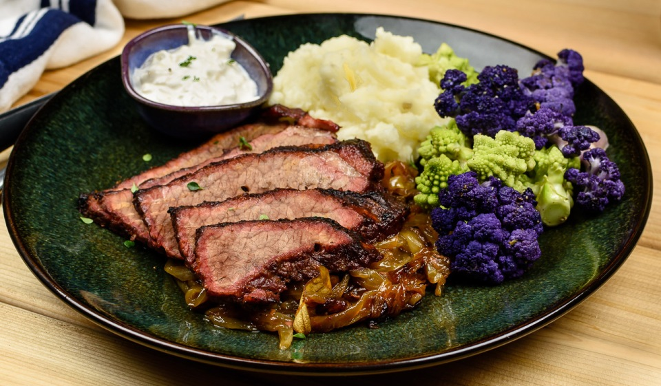 Braised beef brisket with onions and horseradish sauce