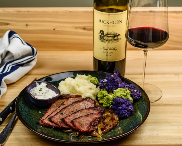 Duckhorn Merlot paired with braised brisket and onions