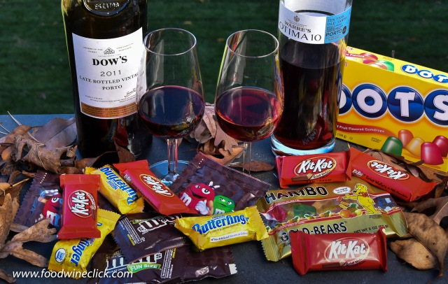 Port wines paired with Halloween candy