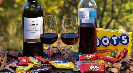 Port wines paired with stolen halloween candy