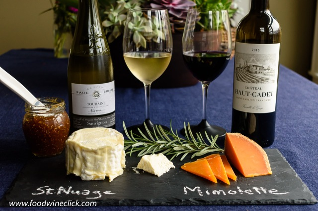 French wines and cheeses in an attractive cheese plate