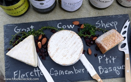 cheese board with goat, cow and sheep milk cheeses