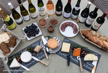 A beautiful wine and cheese spread