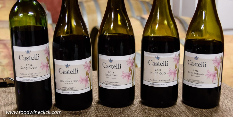 Castelli Vineyards wines including Pinot Noir, Sangiovese and Nebbiolo