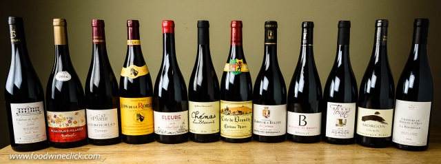 A variety of Beaujolais wines