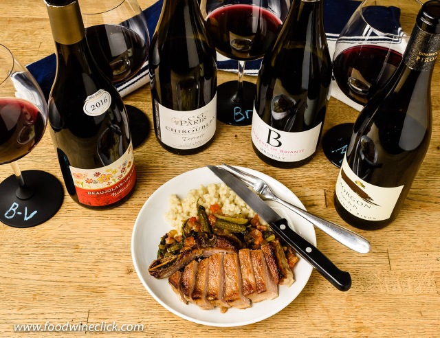 A selection of Beaujolais wines with Butcher's wife's pork
