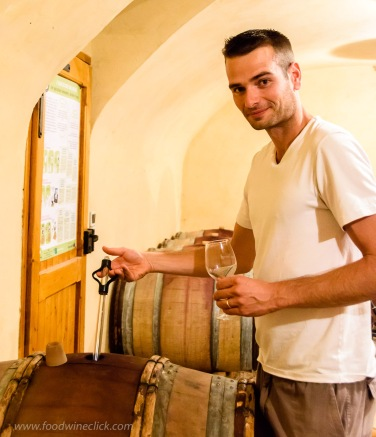 Thomas shared a taste of the 2015 Morgon Cote du Py still in barrel