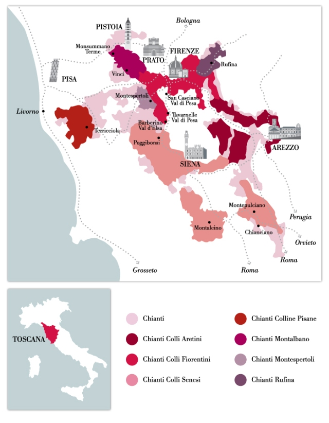 Map of Chianti towns outside of Chianti Classico. courtesy of Consorzio Vino Chianti