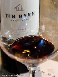 Beautiful red wine colors in the glass at Tin Barn winery