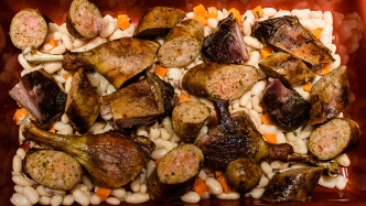 cassoulet being assembled