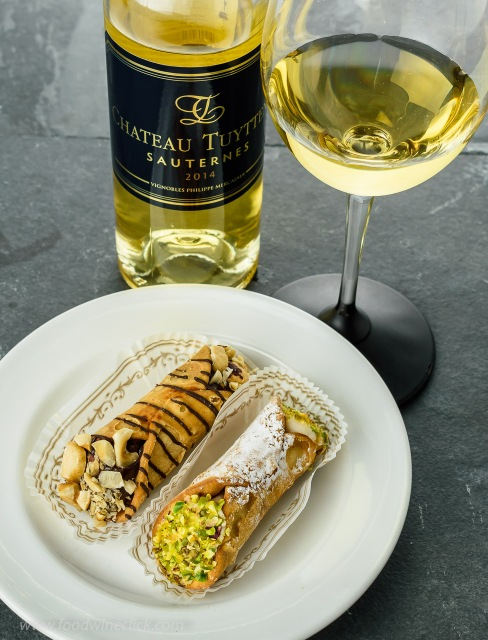 Chateau Tuyttens Sauternes paired with cannoli